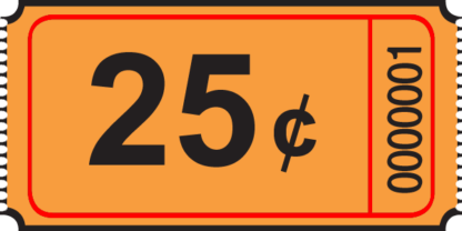 25 cent Roll Ticket Orange
