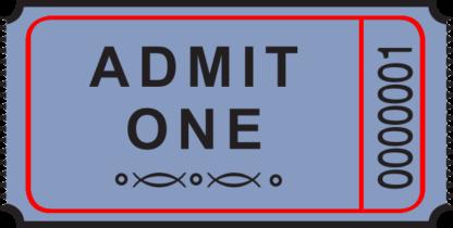 Admit One Roll Ticket Blue