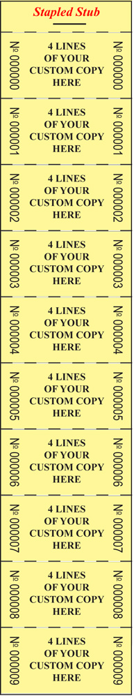 Custom Roll Size Strip Ticket (1×2″) 1000 tickets per book